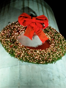 The giant wreath adorns the silo at the barn.
