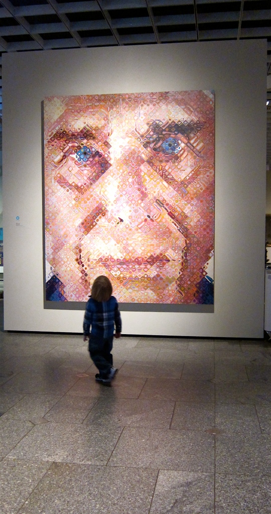 Chuck Close's work shows how things can appear to be one thing up close and something else entirely from a distance.