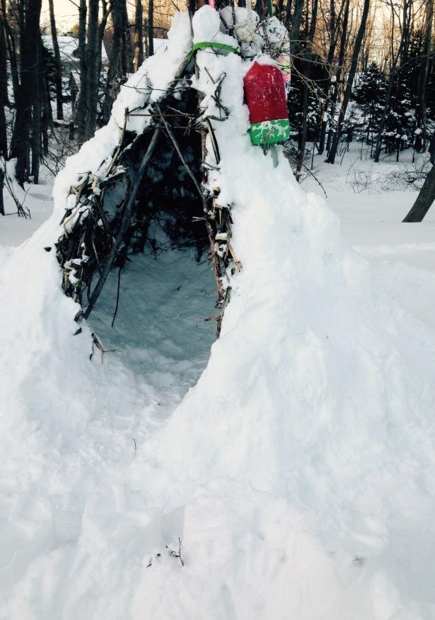 Teepee snow cave